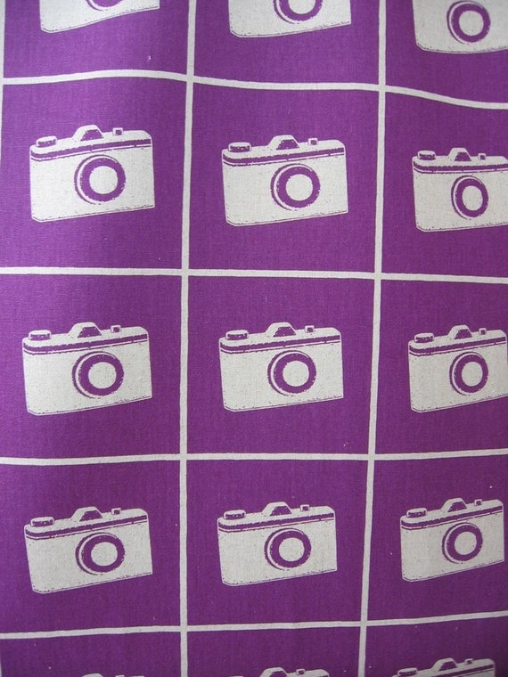 Camera Japanese Fabric Echino in Purple 1 yard