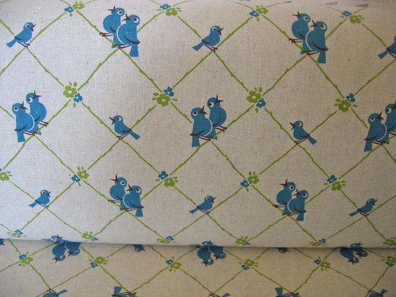 Kitchen retro BirdsTrefle Japanese  in blue  1/2  yard