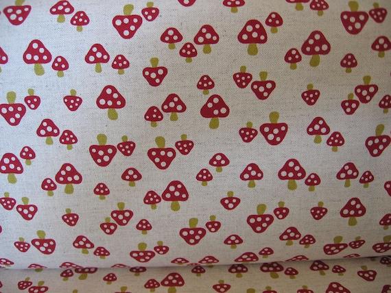Red Mushrooms Japanese Fabric Trefle Kitchen print  1/2 yard
