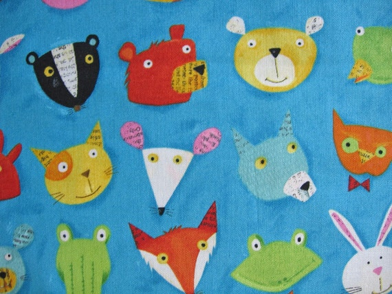 Wild Animals Faces by Nancy Wolff / Japanese Fabric / Kokka/ Fabric Fox and Pigs FQ