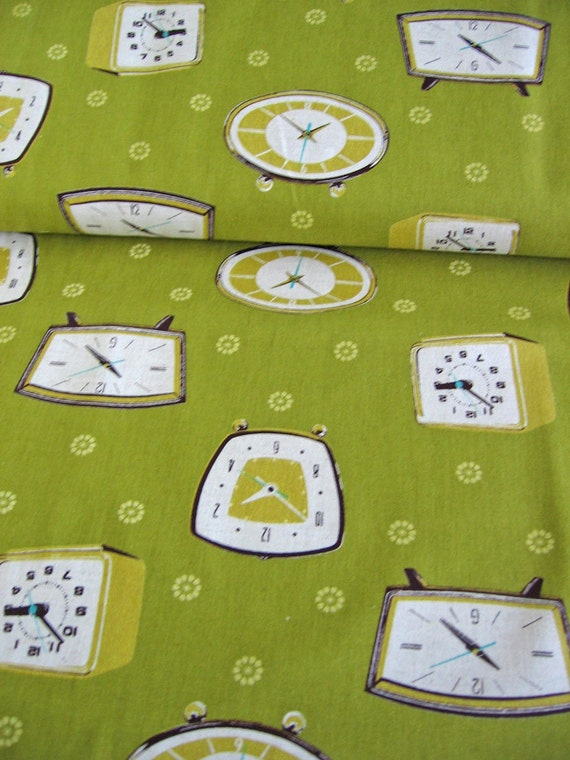 dusty olive green  / Japanese fabric / Melody Miller / Ruby star shining / Kokka / clocks