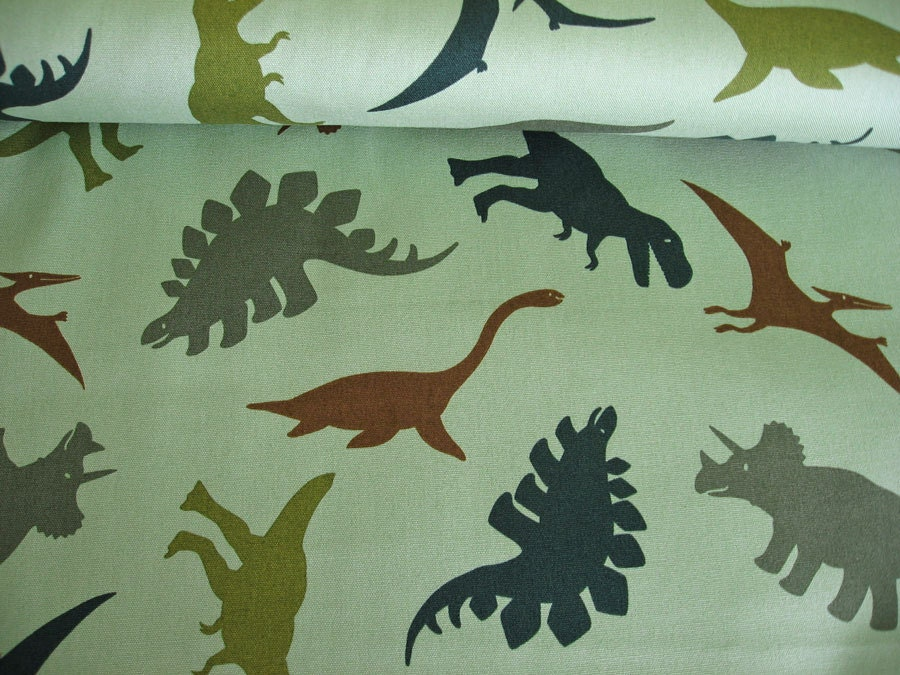 Green dinosaur japanese fabric boys print 1 2 yard for Dinosaur fabric