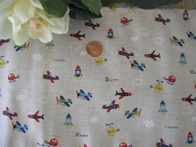 Japanese airplane print fabric 1 2 yard cut for Airplane fabric by the yard