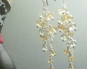 SALE Prasiolite and Citrine Cluster Earrings (Item  E-10)