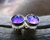 Faceted Purple Amethyst Sterling Silver Post Stud Earrings