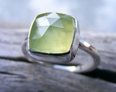 Faceted Prehnite Ring, Prehnite Silver Ring, Prehnite Cocktail Ring, Green Stone, Recycled Sterling Silver Ring