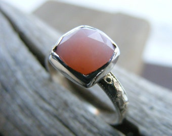 Faceted Peruvian Pink Opal Gemstone Sterling Silver Ring