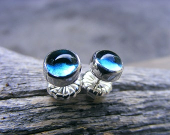 Blue studs, London Blue Topaz Post Stud Sterling Silver Earrings 6mm, Recycled Sterling Silver, December Birthstone
