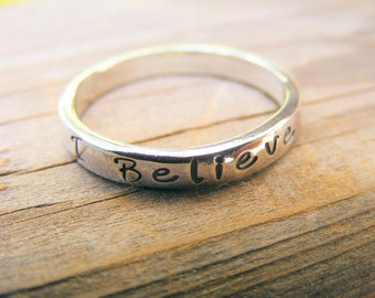 Custom Personalized Handstamped Stacking Sterling Silver Ring Jewelry, ONE Memory Ring