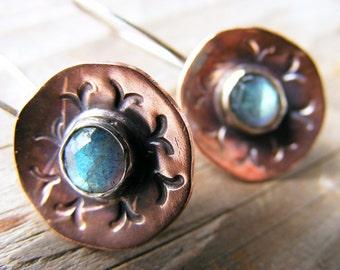 Copper Labradorite Earrings, Dangle Earrings, Drop Earrings, Sterling Silver Earwires, Labradorite Stone Earrings,