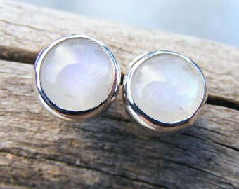 Moonstone Studs, Large Rainbow Moonstone Post Earrings, Blue Flash Milky White Gemtone in Sterling Silver - Handcrafted by Helene's Dreams