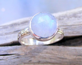 Faceted Moonstone Ring, Rainbow Moonstone Ring, Recycled Sterling Silver Moonstone Ring, Floral Pattern Ring Band, Bella's Twilight Ring