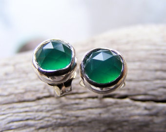 Emerald Green Onyx Post Stud Earrings- In Sterling Silver - May Birthstone Color- Also available in Gold