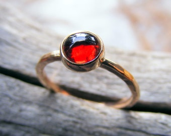 14k Gold Garnet Gemstone Stacking Ring - January Birthstone Ring - Garnet Jewelry
