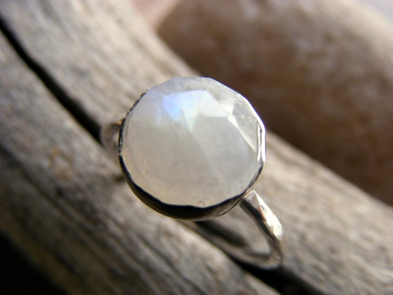 RESERVED FOR ANNIKA -Faceted Rainbow  Moonstone  Sterling Silver Ring