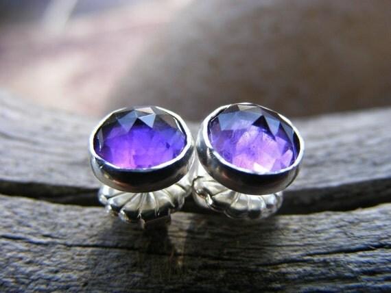 Purple Amethyst Stud Post Earrings, February Birthstone Gemstone, Sterling Silver or Gold