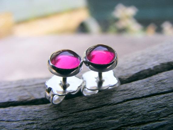 Pink Ruby Studs, Ruby Studs, Ruby Earrings, Ruby Silver Studs, 5mm Studs, Ruby Sterling Silver Studs