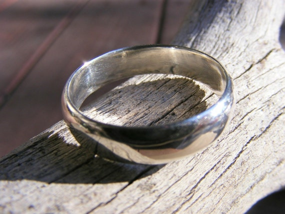 Sterling Silver Wedding Ring Band - Unisex Men Womens - Promise, Engagement, Simple Jewelry - Handcrafted By Helene's Dreams