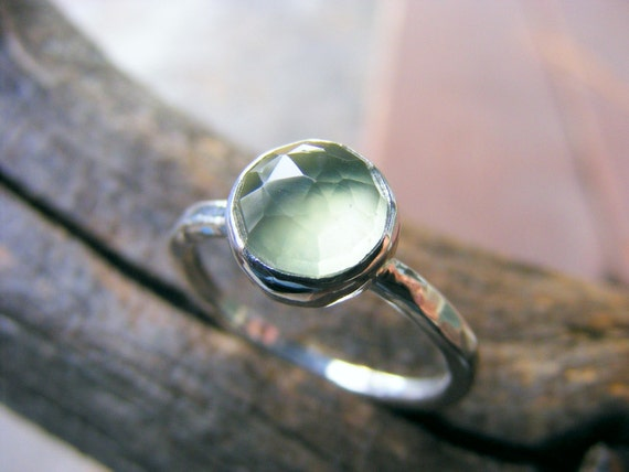 Prehnite Ring Sterling Silver, Green Stone Ring, Faceted Prehnite Ring, Stacking Ring,