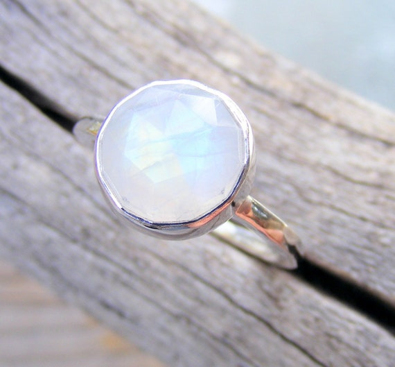 Faceted Rainbow Moonstone Ring in Recycled Sterling Silver, Same Stone as Bella's Twilight Ring