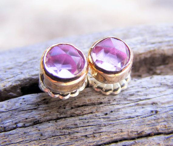 Pink Sapphire Gold Studs Post Earrings, Pink Rose Cut Gemstone, Available In Sterling Silver, Handcrafted Rustic Jewelry