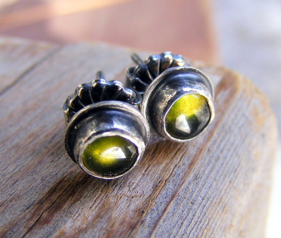 Vesuvianite Or Vasonite Post Stud Sterling Silver Earrings,  Like Green Tourmaline Gemstone, Rustic Earthy Oxidized Jewelry