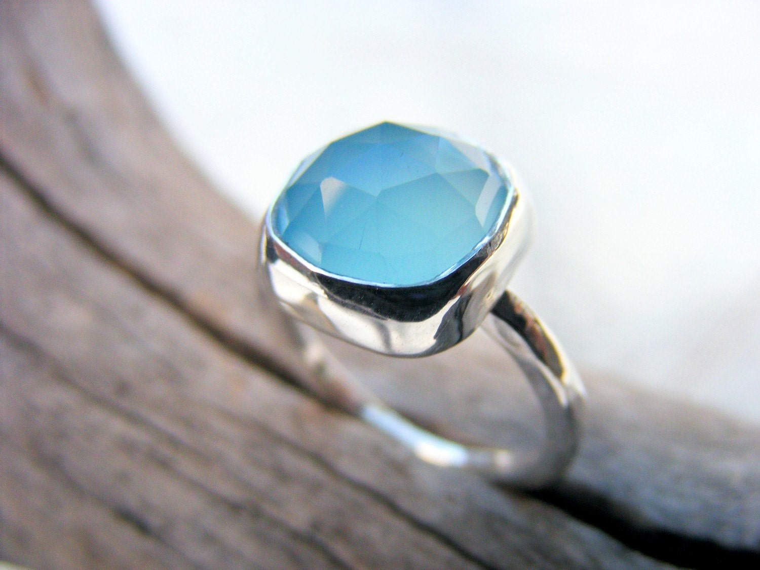 Blue Chalcedony Gemstone Sterling Silver Ring Cushion Cut