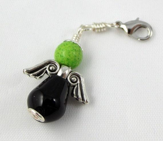 Angel Rosary Charm Black Onyx with Green Howlite