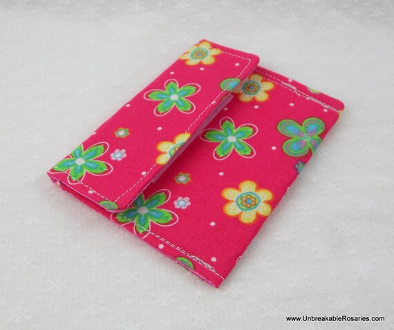 Pink Flowers Rosary Case