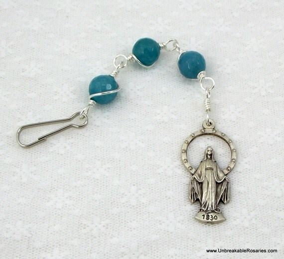 Three Hail Mary Rosary Chaplet in Faceted Blue Sponge Quartz Unbreakable Rosaries