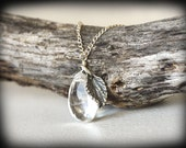 Katherine Crystal and Silver Leaf Charm Necklace