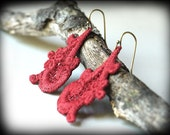 Lace Earrings - Versailles Style in Tomato Red