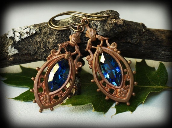 Sapphire Crystal and Vintage Brass Earrings