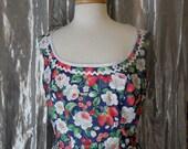 Strawberry Print Fifties Style Dress Size Medium