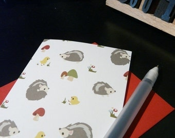 Hedgehog Collage Note Card