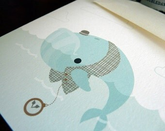 Whale with Pocket Watch Note Card