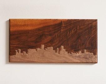 Miami Skyline. - 6x12 - Walnut