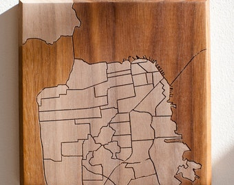 SF Neighborhood Map 7x7 - Walnut