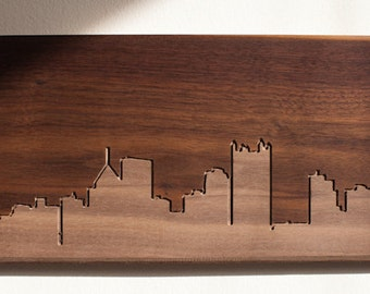 Pittsburgh Skyline. - 4x8 - Walnut