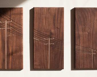 Power Poles Triptych - Walnut