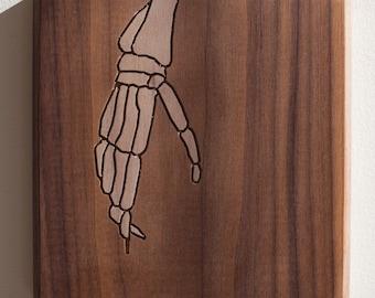 Skeleton Hand 7x7 - Walnut