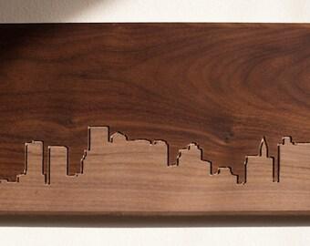Boston Skyline. - 4x8 - Walnut