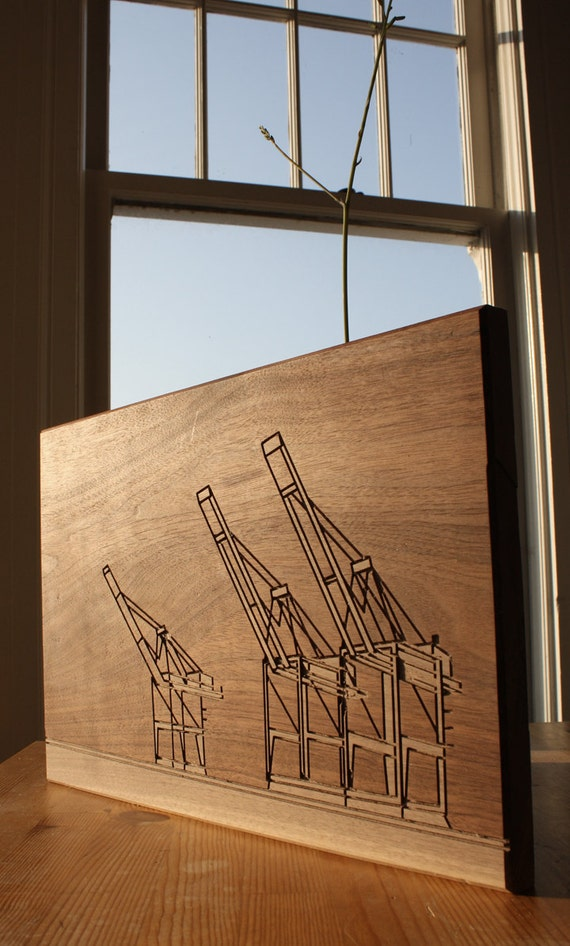 Dave Marcoullier - Wood Routing (Oakalnd Cranes - 12x18) - Walnut