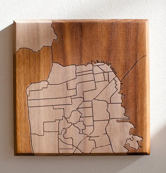 SF Neighborhood Map 12x12 - Walnut