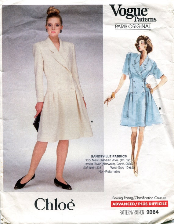 Vogue Paris Original 2064, Size 16, Bust 38, Vintage 1980s Dress Pattern by Chloe