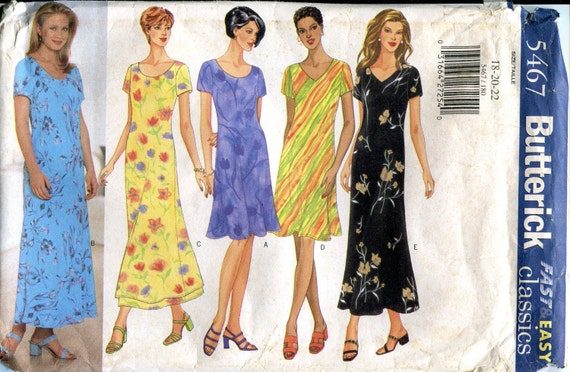 1990s Dress Pattern, Butterick 5467, Size 18 20 22, Bust 40 42 44, Uncut