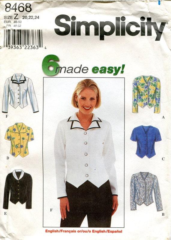 SALE -- 1990s Blouse Pattern, Simplicity 8468, Size 20 22 24, Bust 42 44 46, Size Z
