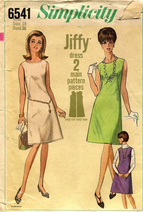Vintage 1960s Basic Shift Dress Pattern Simplicity 6541 Size - photo#11