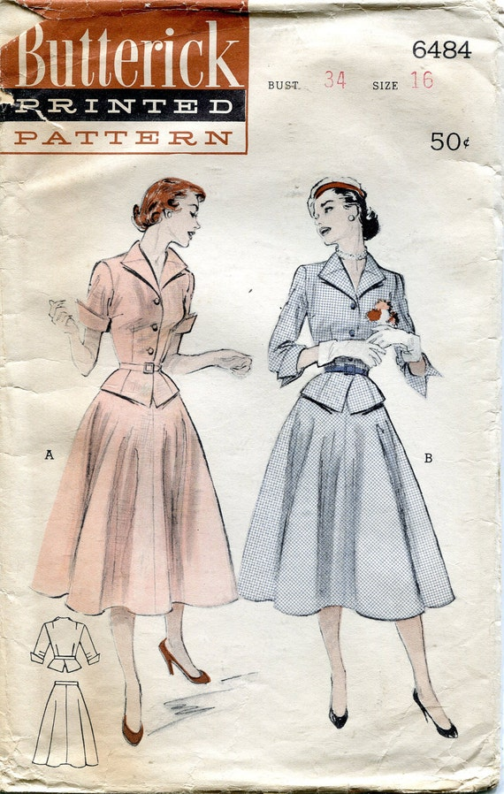 Vintage 1950s Two Piece Belted Dress: Flared Skirt, Peplum Pattern, Butterick 6484, Size 16, Bust 34