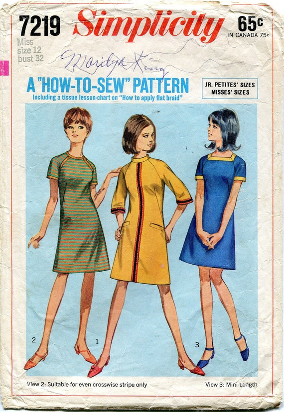 Vintage 1960s Dress Pattern, Simplicity 7219, Size 12, Bust 32
